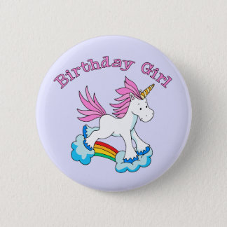 Unicorn Rainbow Birthday Girl 6 Cm Round Badge