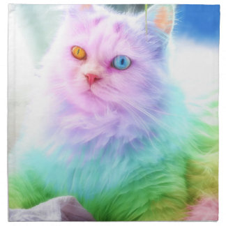 Unicorn Rainbow Cat Napkin