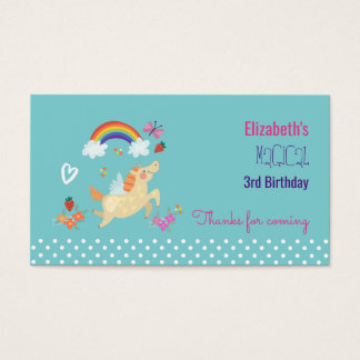 Unicorn Rainbow Clouds and Flowers Birthday Thanks Business Card