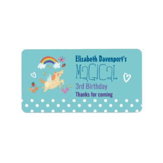 Unicorn Rainbow Clouds and Flowers Birthday Thanks Label