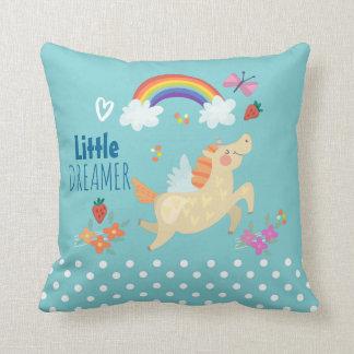 Unicorn Rainbow Clouds and Flowers Little Dreamer Cushion