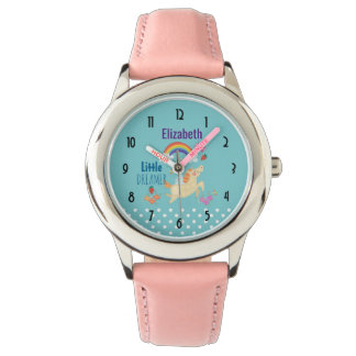 Unicorn Rainbow Clouds and Flowers Little Dreamer Wristwatches