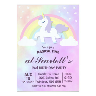 Unicorn Rainbow Girls Birthday Party Invitation