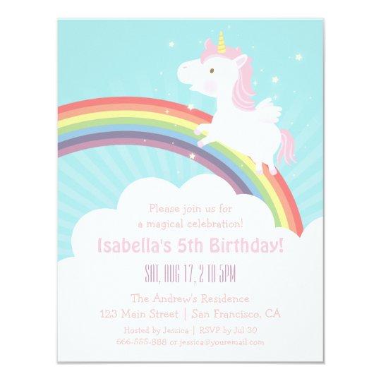 unicorn rainbow girls birthday party invitations zazzle com au