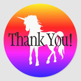 Unicorn Rainbow Ombre Thank You Classic Round Sticker
