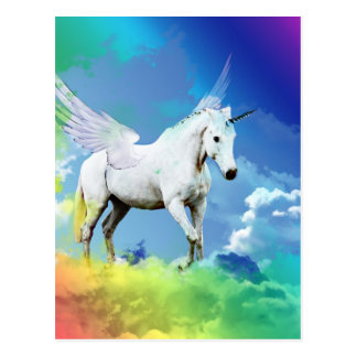 Unicorn Rainbow Postcard