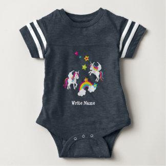 Unicorn Rainbow Stars. Fairy Tale Baby Baby Bodysuit