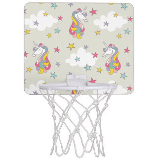 Unicorn Rainbows Clouds and Colorful Stars Mini Basketball Hoop