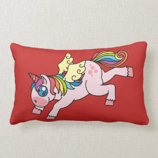 unicorn red rectangle pillow