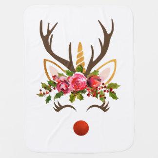 Unicorn Reindeer Antler / Christmas Flowers Baby Blanket