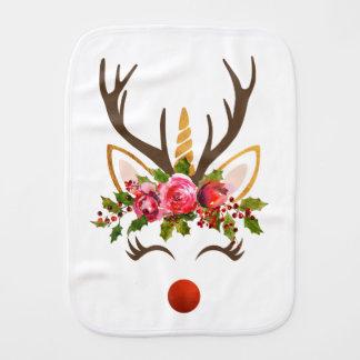 Unicorn Reindeer Antler / Christmas Flowers Burp Cloth