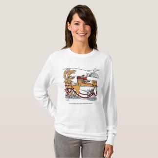 Unicorn Reindeer women l-slv Christmas toon shirt