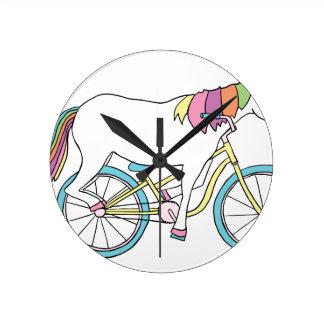 Unicorn Riding Bike Round Clock