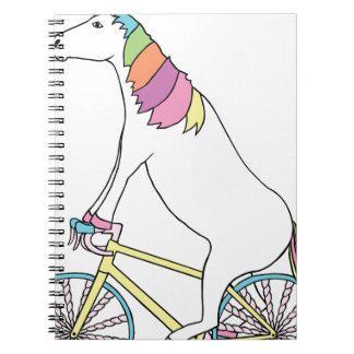 Unicorn Riding Bike W/ Unicorn Horn Spoked Wheels Notebook