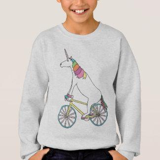 Unicorn Riding Bike W/ Unicorn Horn Spoked Wheels Sweatshirt