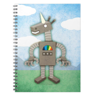Unicorn Robot Spiral Notebooks