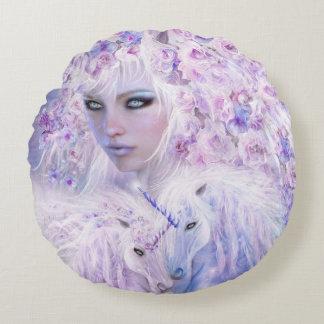 Unicorn Rose Goddess Art Decorator Pillow-Round Round Cushion