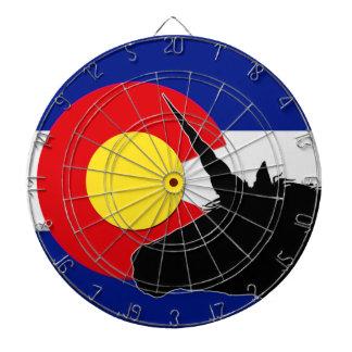 Unicorn Silhouette Over The Colorado Flag Dartboard
