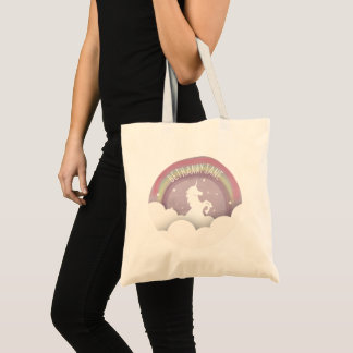 Unicorn Silhouette Rainbow Clouds Personalized Tote Bag