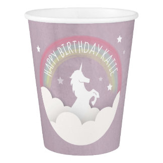 Unicorn Silhouette Rainbow Clouds + Stars Birthday Paper Cup