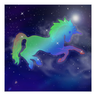 Unicorn Sky   Starry Night Poster