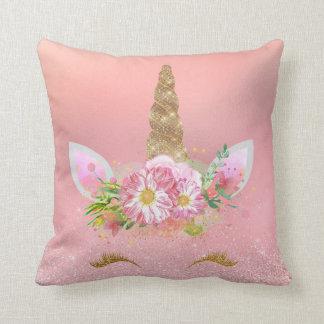 Unicorn Smiling Lashes Pink Rose Gold Glam Flowers Cushion
