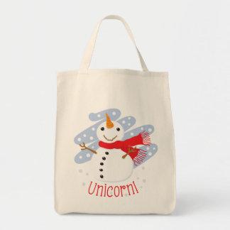Unicorn Snowman Canvas Bags