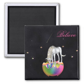 Unicorn space butterfly magnet