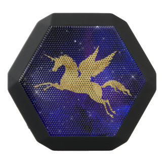 Unicorn Stardust Galaxy Constellation Blue Gold Black Bluetooth Speaker