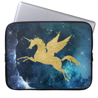 Unicorn Stardust Galaxy Constellation Blue Gold Laptop Computer Sleeves