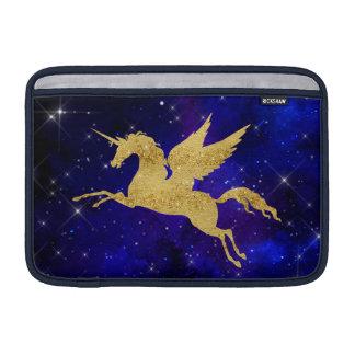 Unicorn Stardust Galaxy Constellation Blue Gold MacBook Sleeves