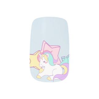 Unicorn & Stars Pastel Nail Art Designs