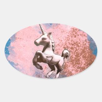 Unicorn Sticker Oval-Shaped (Faded Sherbet)
