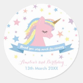 Unicorn stickers - birthday favor stickers