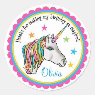 Unicorn Stickers, Unicorn birthday party stickers