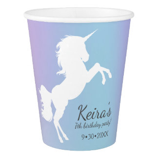 Unicorn themed, cotton candy color, name, date, paper cup