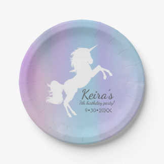 Unicorn themed, cotton candy colour, event details 7 inch paper plate