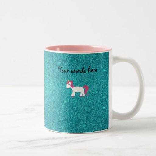 Unicorn turquoise glitter coffee mugs