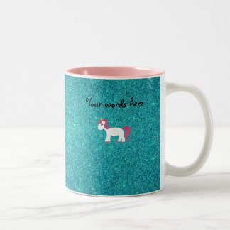 Unicorn turquoise glitter Two-Tone coffee mug