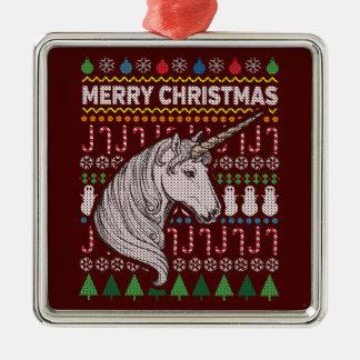 Unicorn Ugly Christmas Sweater Wildlife Series Metal Ornament