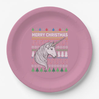 Unicorn Ugly Christmas Sweater Wildlife Series Paper Plate