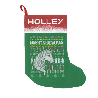 Unicorn Ugly Christmas Sweater Wildlife Series Small Christmas Stocking