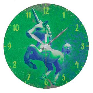 Unicorn Wall Clock   Glowing Emerald