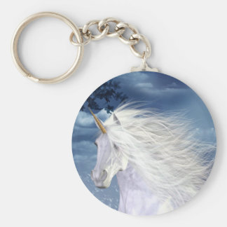 Unicorn White Beauty Basic Round Button Key Ring