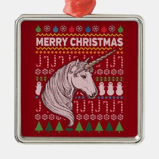 Unicorn Wildlife Merry Christmas Ugly Sweater Metal Ornament