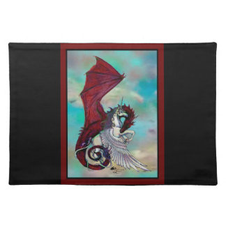 Unicorn Winged Pony Pegacorn Wyrm Red Dragon Horse Placemat