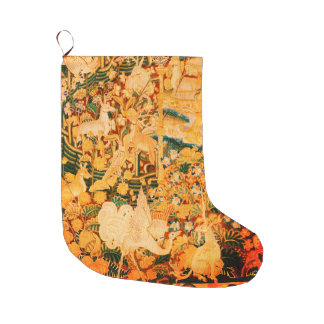 UNICORN WITH BIRD AND OTHER ANIMALS Floral Large Christmas Stocking