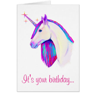 Unicorn with Colors Birthday Card