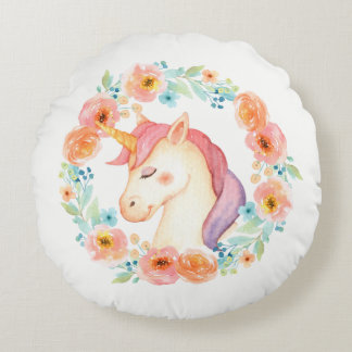 Unicorn with Floral Wreath Pillow