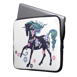 Unicorn with flowers, dark blue laptop computer sleeves